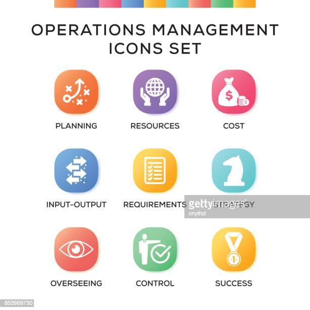 Operations Management Icons Set on Gradient Background