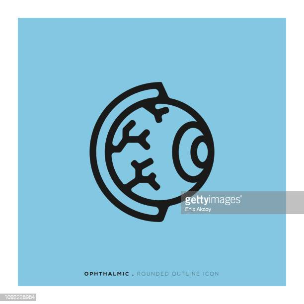 ophthalmic rounded line icon - glaucoma stock illustrations, clip art, cartoons, & icons