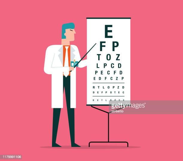 視力検査を行う眼科医 - 検眼医点のイラスト素材/クリップアート素材/マンガ素材/アイコン素材