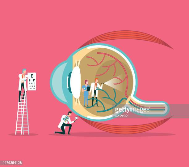 ophthalmologist - lens optical instrument stock illustrations