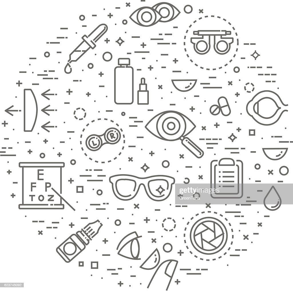 ophthalmology concept illustration, thin line, flat design
