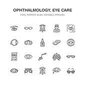 Ophthalmology, eyes health care line icons. Optometry equipment, contact lenses, glasses, blindness. Vision correction thin linear signs for oculist clinic. Pixel perfect 64x64
