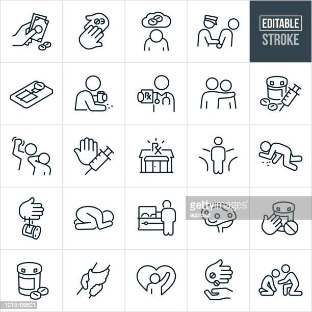 opioid addiction and recovery thin line icons - editable stroke - crisis stock illustrations