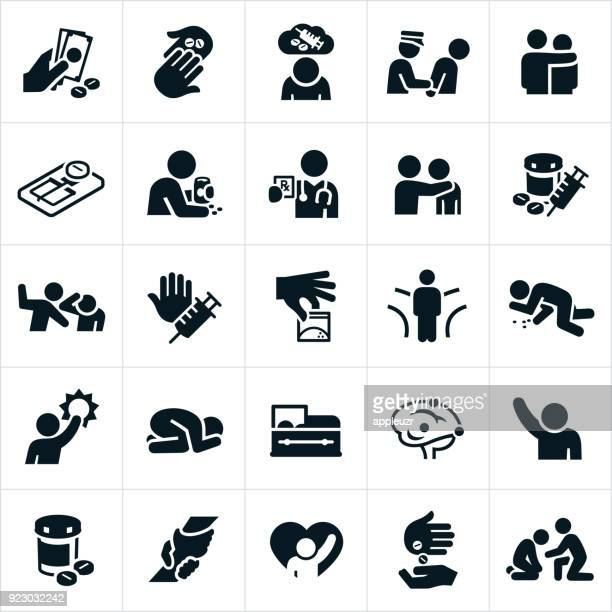 opioids crisis and recovery icons - enslaved stock illustrations
