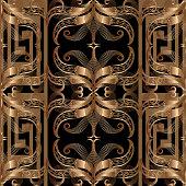 Сopper colored ornate greek 3d vector seamless pattern. Abstract floral ornamental background. Geometric repeat backdrop. Greek key meander border ornament. Modern decorative design. Wallpaper, panel