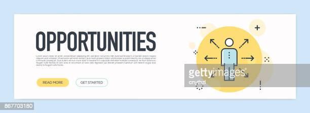 Opportunites Concept - platte lijn webbanner