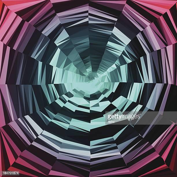 optic vortex hypnotic illusion polygon spiral design graphic art background - magic eye stock illustrations