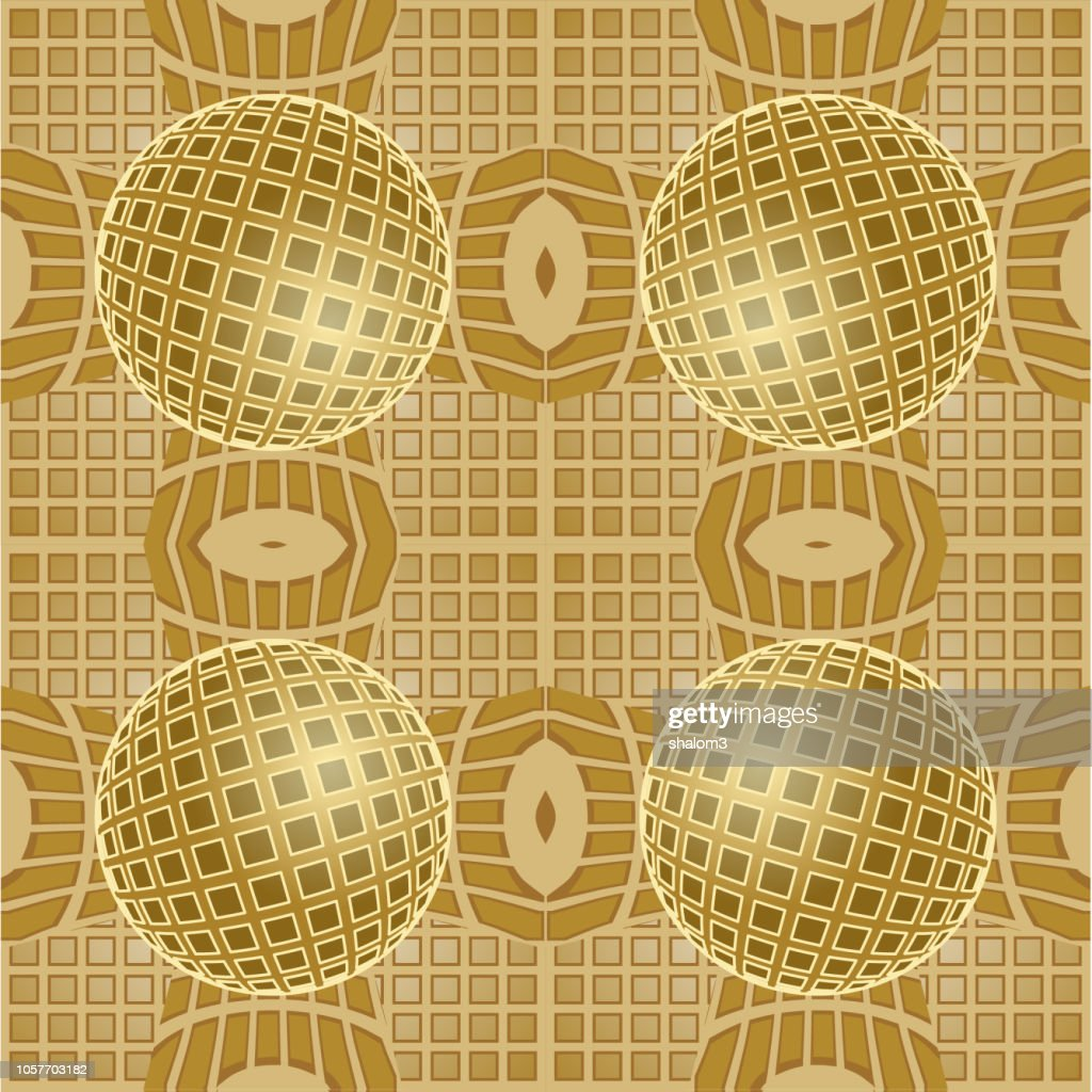 Optical art background with 3d illusion, golden grid with sphere patterns, seamless tile