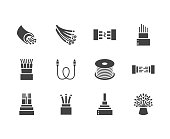 Optical fiber flat glyph icons. Network connection, computer wire, cable bobbin, data transfer. Signs for electronics store, internet services. Solid silhouette pixel perfect 64x64
