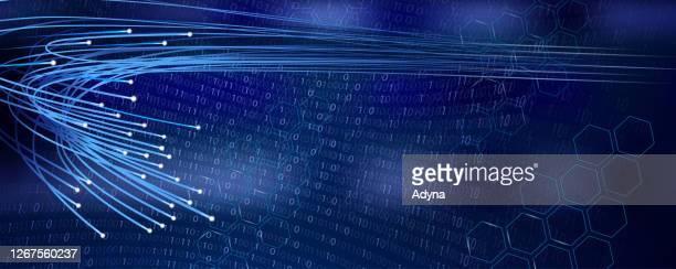 illustrazioni stock, clip art, cartoni animati e icone di tendenza di optical fibers blue background - fibra ottica