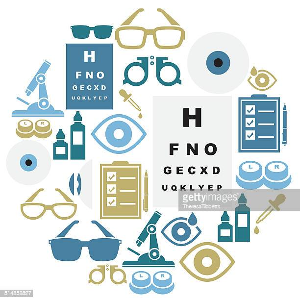 optical icon set - ophthalmology stock illustrations, clip art, cartoons, & icons