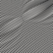Optical illusion. Black and white abstract striped background. 3D vector.