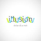 Optical illusion concept, abstract logo template