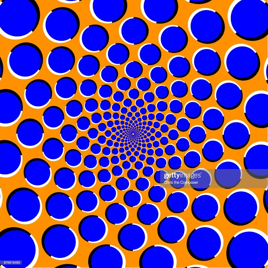 Optical illusion with blue circles on a orange background