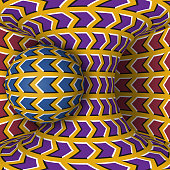 Optical motion illusion illustration. A sphere are rotation around of a moving hyperboloid.