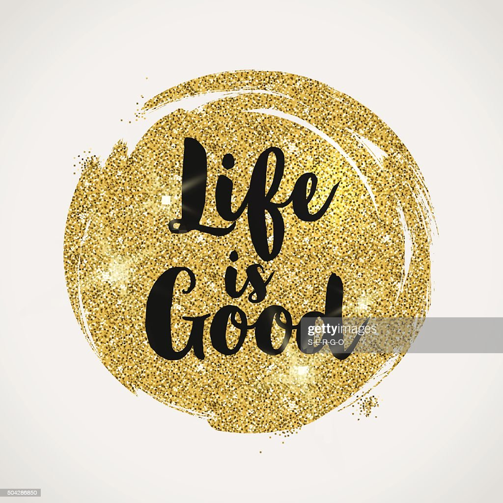 Optimistic quote on a glitter golden background
