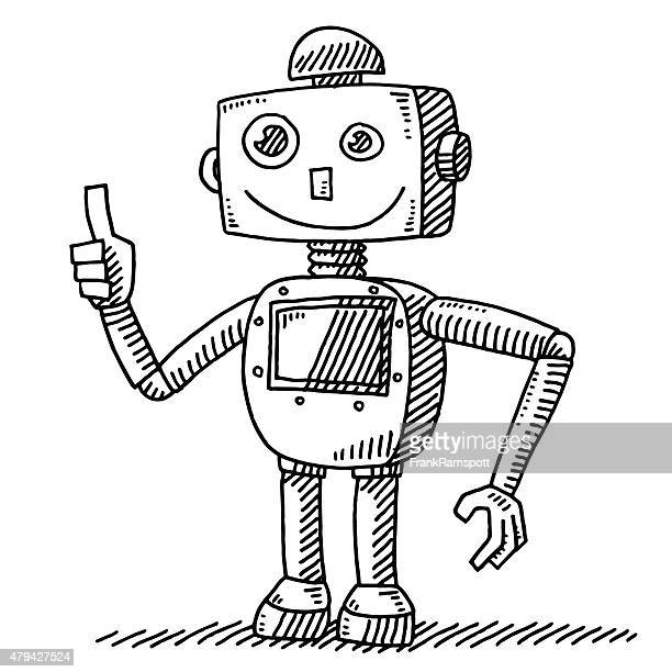 optimistic robot thumb up hand drawing - robot stock illustrations