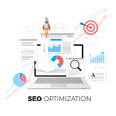 SEO optimization concept. Data analytics. Search engine optimization strategy. Content development and production. Vector illustration