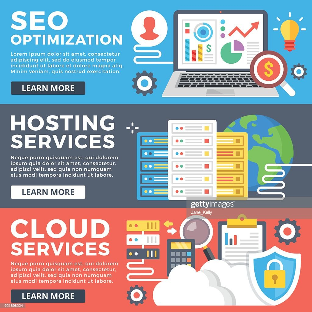 SEO optimization, hosting service, cloud services, internet technology flat illustrations