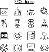 SEO & Optimization icon set in thin line style