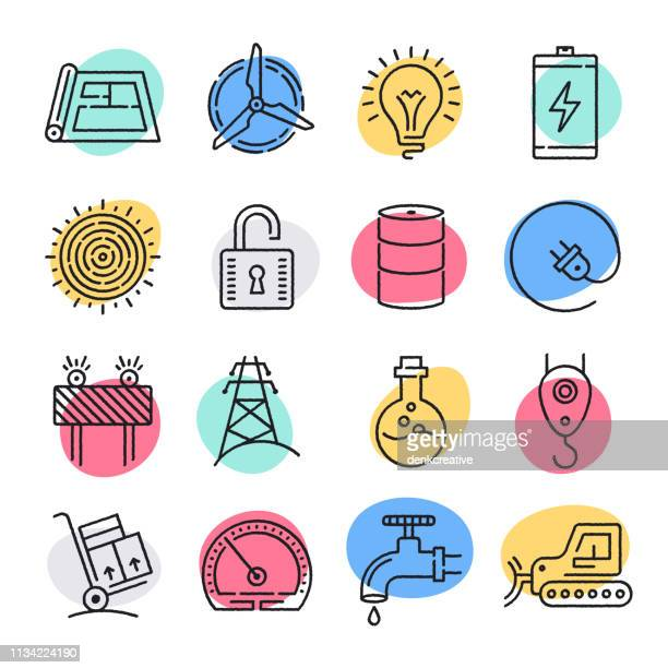 optimization in energy industry doodle style vector icon set - self improvement stock illustrations