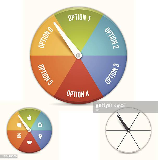 option choice wheel - spinning stock illustrations