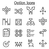 Option icon set in thin line style