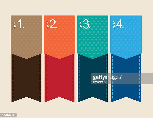 option tags with numbered elements - bookmark stock illustrations, clip art, cartoons, & icons