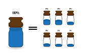 Options for filling cans different amount of liquid. Vector Illu