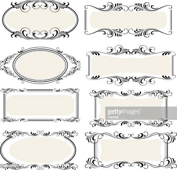 8 options of victorian scrolled label frames  - scrollen stock illustrations