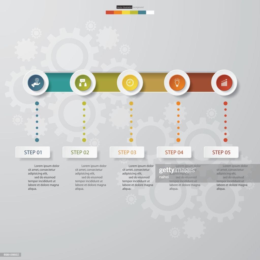 5 options timeline use for infographic/presentation.