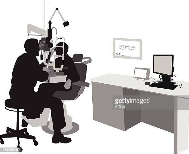 optometrist's office with patient - ophthalmology stock illustrations, clip art, cartoons, & icons