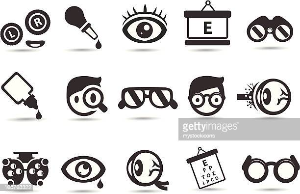 optometry and medical icons - ophthalmology stock illustrations, clip art, cartoons, & icons