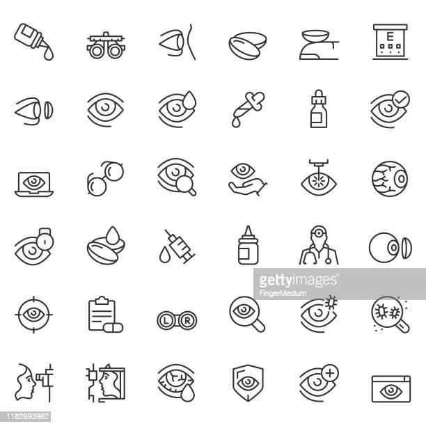 optometry icon set - lens optical instrument stock illustrations