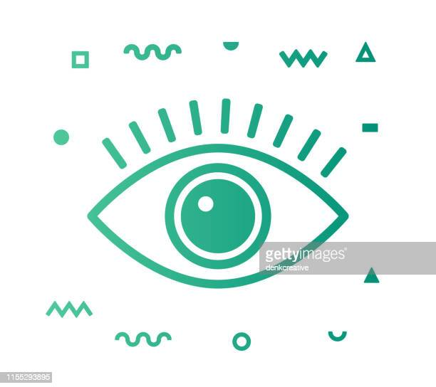 ilustrações, clipart, desenhos animados e ícones de linha de optometria estilo icon design - olho