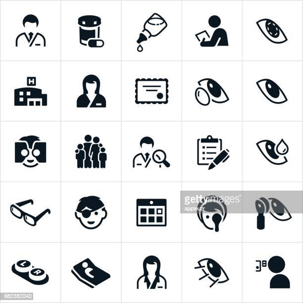 optometry medicine icons - ophthalmology stock illustrations, clip art, cartoons, & icons