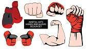 MMA or boxing red gloves hand design element set