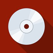 CD or DVD icon on backgound with shadow. Compact Disc digital optical disc data storage. Vector illustration