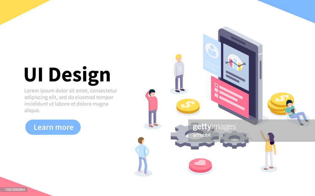 UX or UI design concept. People standing around device with infographic. Software group, kit for phone seo programming.