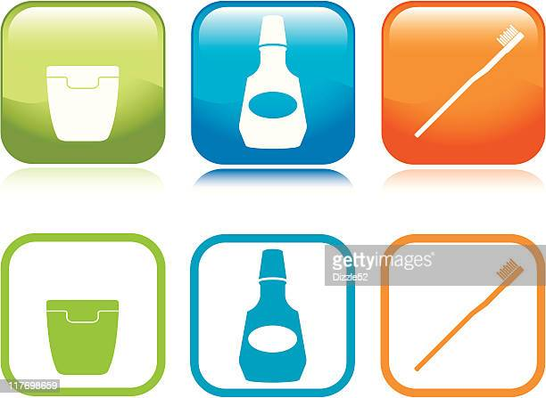 oral hygiene icons - dental floss stock illustrations