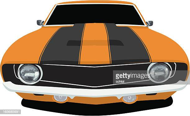 orange 1969 camaro - vehicle hood stock illustrations, clip art, cartoons, & icons