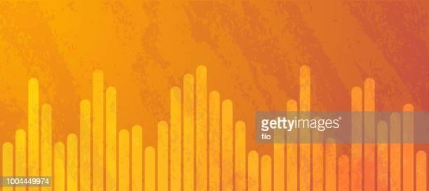 orange abstract level bars - audio equipment stock illustrations