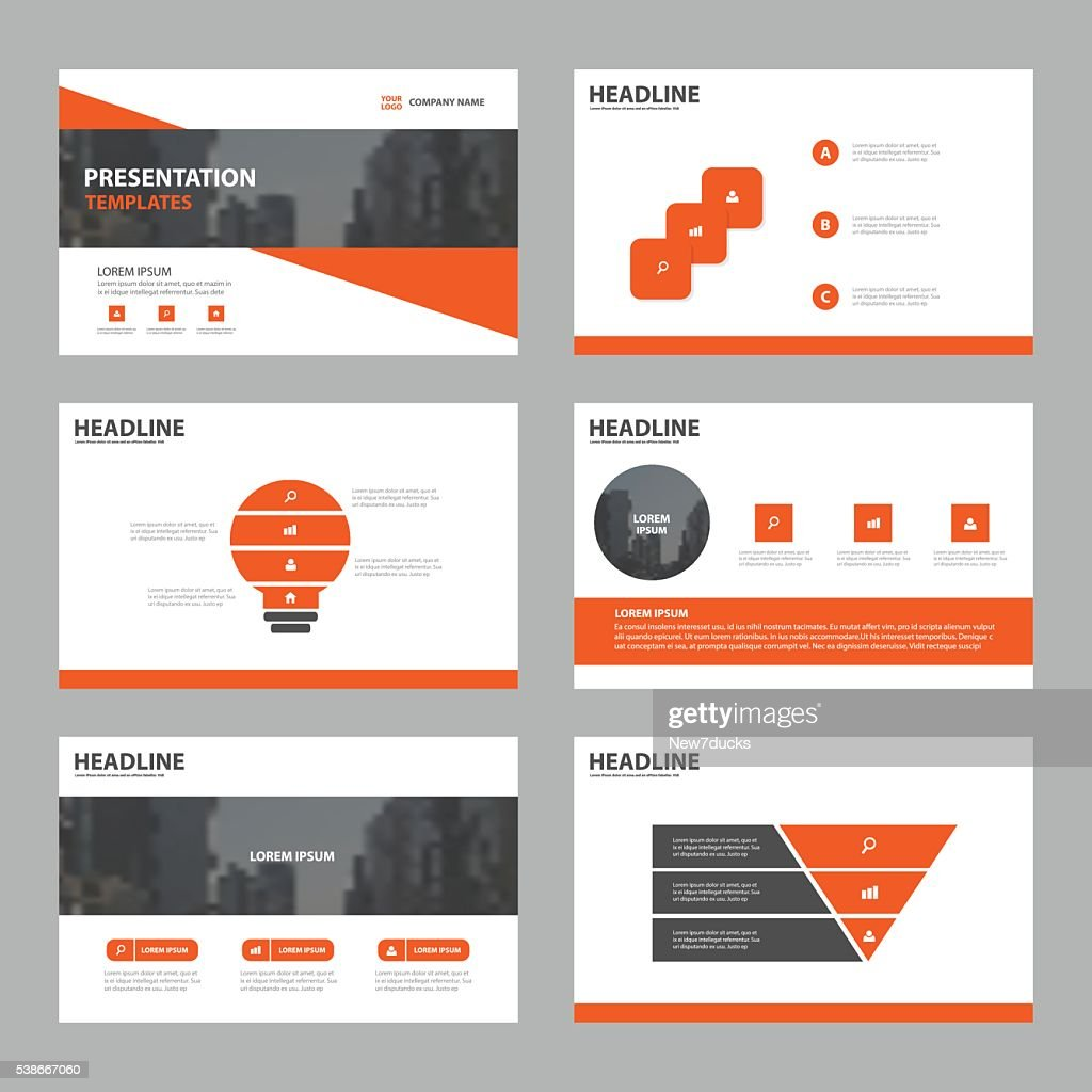 Orange Abstract presentation templates, Infographic elements template flat design