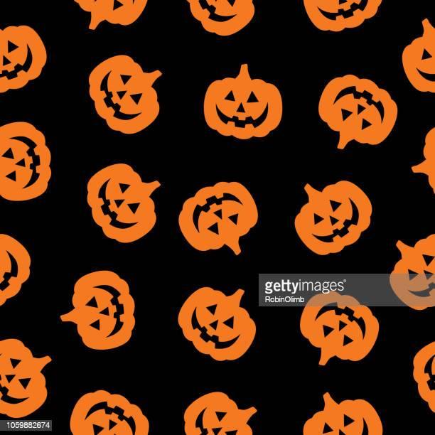 orange and black pumpkin seamless pattern - jack o lantern stock illustrations, clip art, cartoons, & icons