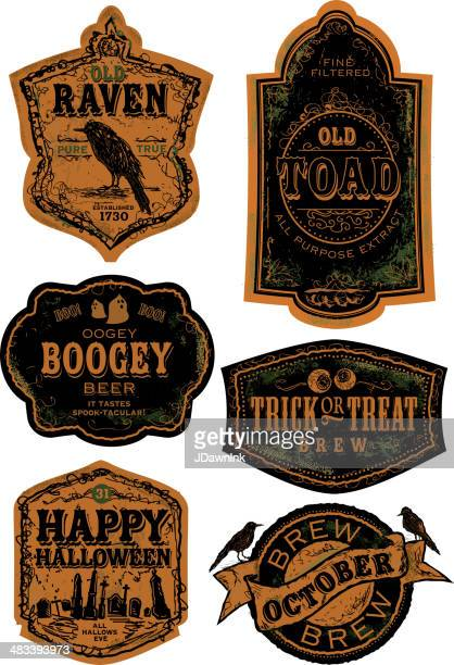 orange and black set of old fashioned halloween beer labels - beer alcohol stock illustrations, clip art, cartoons, & icons
