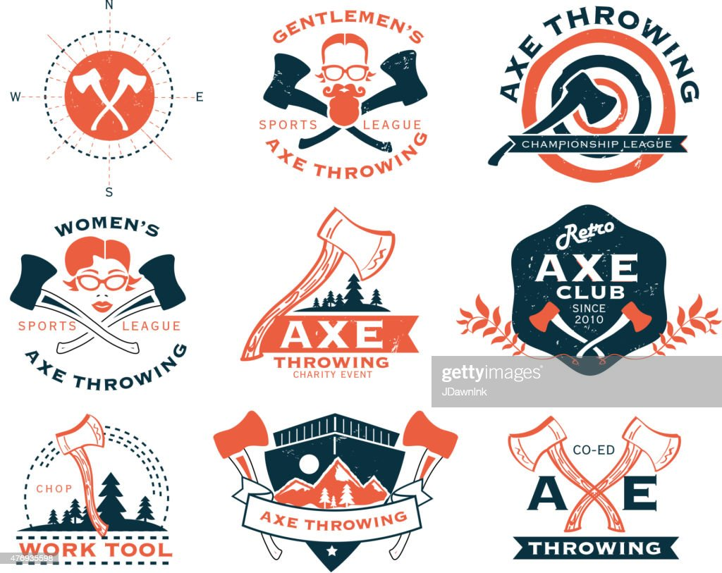Orange and blue Axe Throwing set of labels or badges