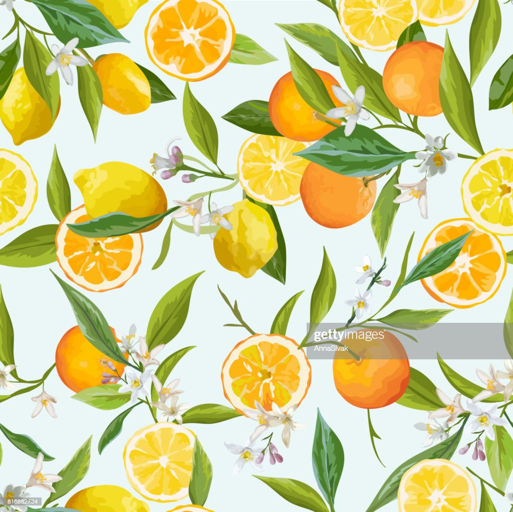 Orange and Lemon Seamless Tropical Pattern in Vector. Illustration of Flowers, Leaves and Fruits.