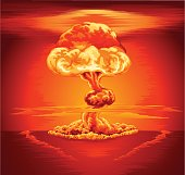 Orange and red illustration of a nuclear mushroom cloud