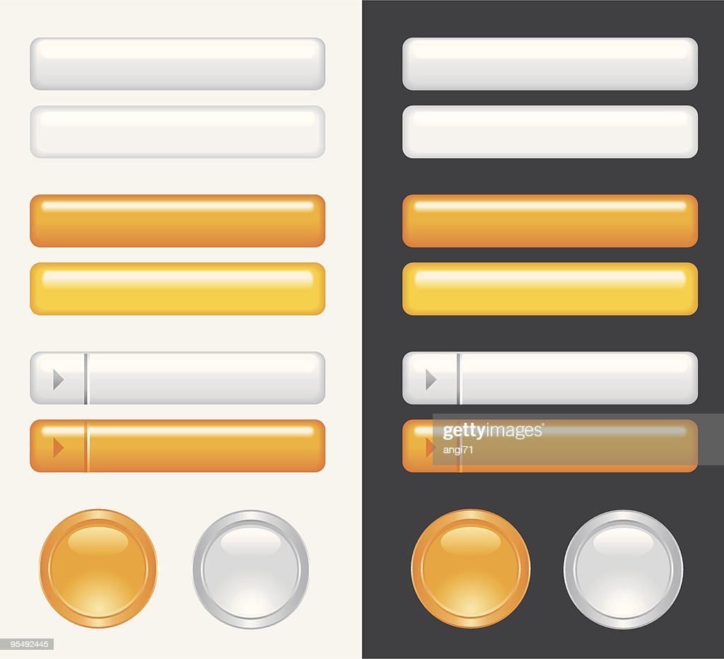 orange and white gray vector buttons