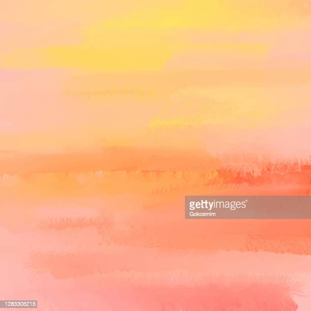 orange und gelb abstrakte wandtextur mit farbe pinselstriche. pastell farbige abstrakte aquarell pinselstriche hintergrund. grunge, graffiti, farbe, aquarell, skizze. grunge vektor hintergrund. - sonnenuntergang stock-grafiken, -clipart, -cartoons und -symbole